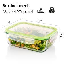 4 pack glass food storage containers with lids food storage container set with airtight locking lids for portion control bpa free microwave freezer