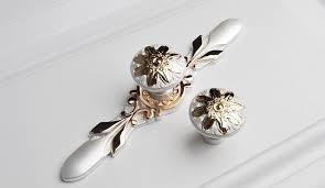 cheap furniture knobs. Unique Cabinet Pulls Dresser Drawer Handles / Wardrobe Gold Flower Ivory White Knobs Cheap Furniture
