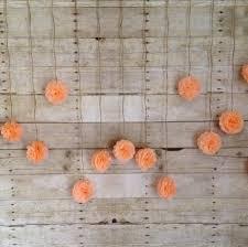 diy peach tissue paper flower wedding garland kit back drop photography prop party decoration pom poms garland light c
