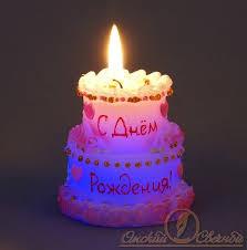 """свеча торт """"с днем рождения"""" мигающий"""