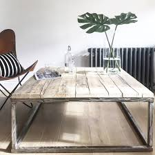 amusing box frame coffee table of reclaimed wood with raw steel