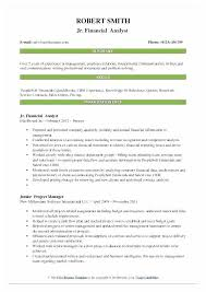 Financial Analyst Resume Template Junior Financial Analyst Resume ...
