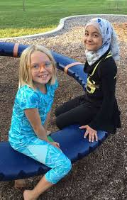za ivaska left and malak alkareem both 5th graders at walker elementary school at the first presbyterian church s first friends picnic this past