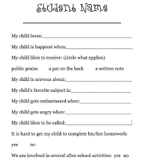 letter from teacher to parents having parents fill out a form or write a letter telling about