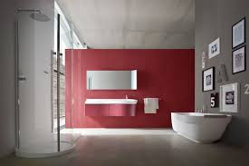 wonderful red painted wall bathrooms ideas combine with grey color decor plus frame wall art and glass shower enclosure feat white bathtub