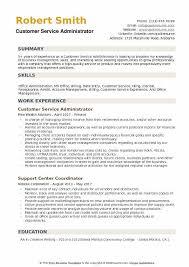 Customer Service Administrator Resume Samples Qwikresume