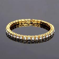 gold color hip hop bracelet a row simulated diamonds shiny rhinestone punk style men s bracelet clic jewelry whole