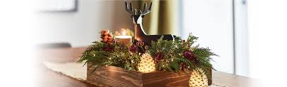 copper candlestick wooden centerpiece