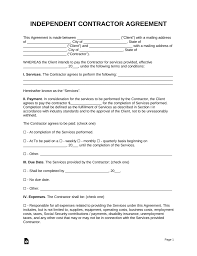 Independent Contractor Agreement Template Free Independent Contractor Agreement Template Pdf Word Eforms