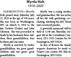Obituary for Myrtle Holt