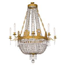 fine french empire eight light ormolu and crystal chandelier for