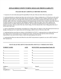 Jonas Ridge Snowtube Release Form