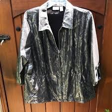 Cinch Jacket Size Chart Chico S Shiny Snake Skin Print Zip Down Cinch Coat