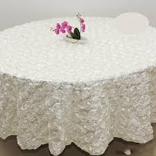 whole 120 inches white color wedding table cloth round overlays 3d rose petal round tablecloths wedding decoration supplier rose flowers table cloths