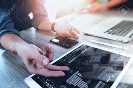 Interior Designer Laptop Two Colleagues Interior Designer Discussing Data And Digital