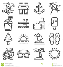 Summer Icons Vector Summer Icons Set Outline Holiday Stock Illustration