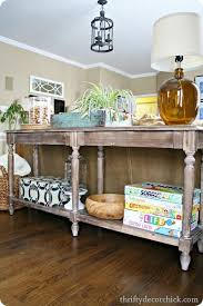 everett foyer table from world market used as a sofa table long table4
