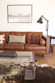 modern leather couch. Modern Southwestern Decor In A Living Room Design Featuring Leather Sofa, Lucite Coffee Table, And Hide Rug - Desert \u0026 Decorating Ideas Couch