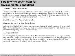 Environmental Consultant Cover Letter