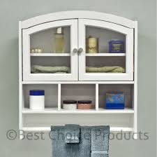 Cartwright Medicine Cabinet White Wood Wall Mounted Bathroom Cabinet Unit Mirrored Door With 3