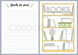 notebook pages template books to read vector vector