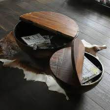 bowl coffee table with wooden lid hinged hardware original iron dome s