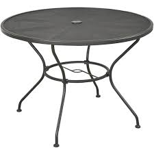courtyard creations dixon wrought iron 40 in round mesh top dining table