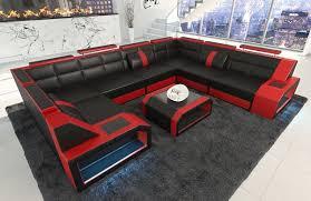 Sofa Wohnlandschaft Leder Pesaro U Form Schwarz Rot