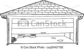 garage half open outline csp25407782