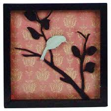 framed metal wall art with a bird and branch silhouette set against a damask print on damask framed wall art with framed metal wall art with a bird and branch silhouette set against