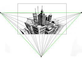 perspective drawings of buildings.  Buildings 3 Point Perspective Diagram With Cityscape In Center Throughout Drawings Of Buildings
