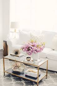 chic white sofa living room with gold coffee table and accents pertaining to decor 14
