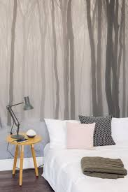 zones bedroom wallpaper: lay your sleepy head under this beautiful forest wallpaper mural a hazy forest landscape will