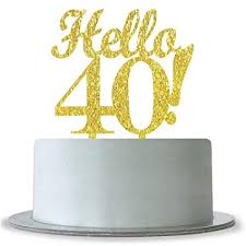 Amazoncom Hello 40 Cake Topper 40th Birthday Wedding Anniversary