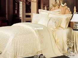 luxurious white queen silk bedding set in california with hand painted fl base table lamps and