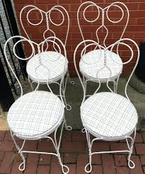 ice cream parlour chairs set of 4 vintage white twisted metal parlor bistro history
