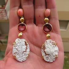 vintage victorian style carved cameo earrings pendant made in italy tourmaline