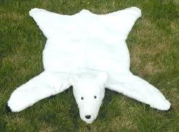 bear rug fake polar skin white plush faux fur with head b