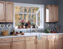 Small Kitchen Bay Windows with Neutral Cabinet in Small Space