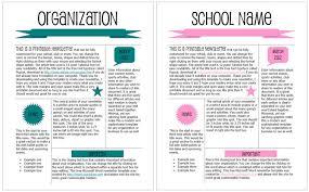 Microsoft Word Newsletter School Or Organization Pink Teal Printable Newsletter Templates