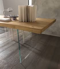 meridiano dining table with wooden top and glass legs