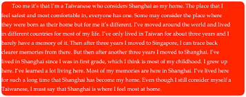heritage essay who am i  too me it s that i m a taiwanese who considers shanghai as my home