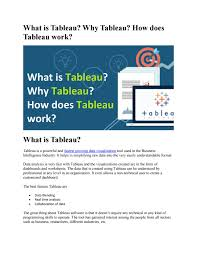 What Is Tableau Why Tableau How Does Tableau Work By Learning And Teaching Online Courses Issuu