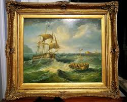 marvelous antique oil painting of ship with sails by k james in magnificent gilt frame