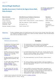Six Sigma Black Belt Resume Examples Best of Ahmed Magdi Resume QAQC SSGB Data Analysis