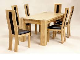 Oak Chairs For Kitchen Table Solid Oak Dining Room Table And 6 Chairs Furniture Set Duggspace