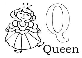 Small Picture Learn Alphabet Letter Q for Queen Letter Q Coloring Page Learn