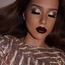 silver eyes and dark plum lips makeup look for holidays