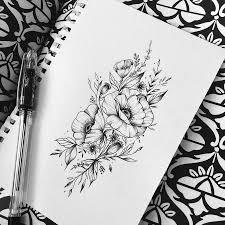 эскиз татуировки цветы черно белые 45041 тату салон дом элит тату