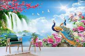 3D Beautiful Peacock And Waterfall